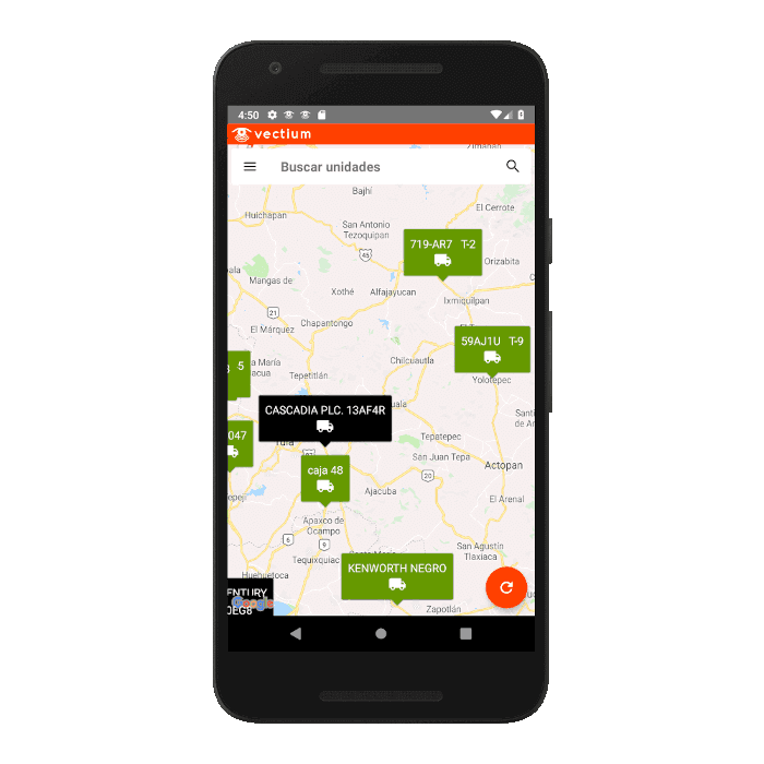 Screenshot of the app, containing a map with GPS units.